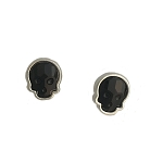 Crystal Skull Earrings Silvertone Jet Black Small