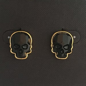 Crystal Skull Earrings Goldtone Jet Black