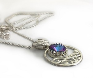 Violet, Aqua, and Silver Necklace with Crystallized Swarovski Elements