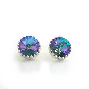 Violet, Aqua, and Silver Earrings with Crystallized Swarovski Elements EA415