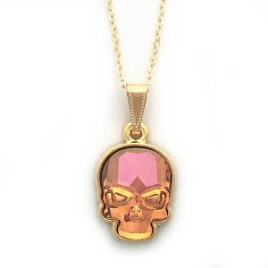 Crystal Skull Necklace Summer Blush Orange - Click image for more detailed view